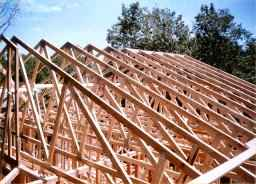 Truss roof of an addition