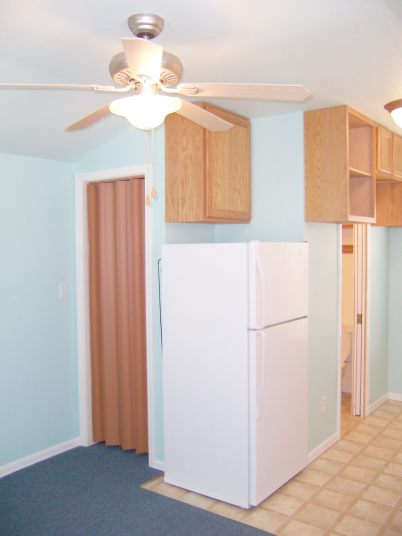 To maximize storage space we installed all the extra cabinets we could find space for.