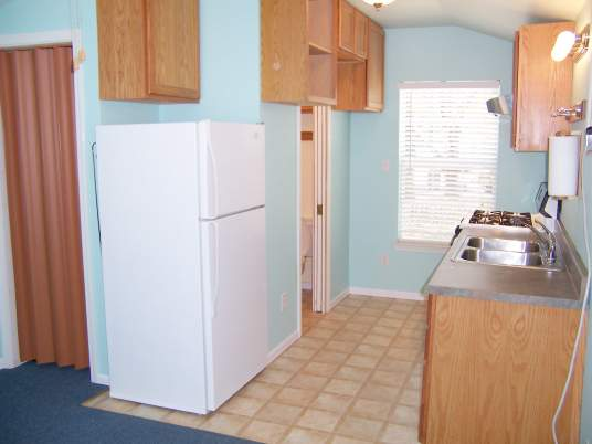 We put a medium size refrigerator in, but left enough space for a large refrigerator later. The cabinet adds extra storage but can be easily removed if necessary for a taller refrigerator.
