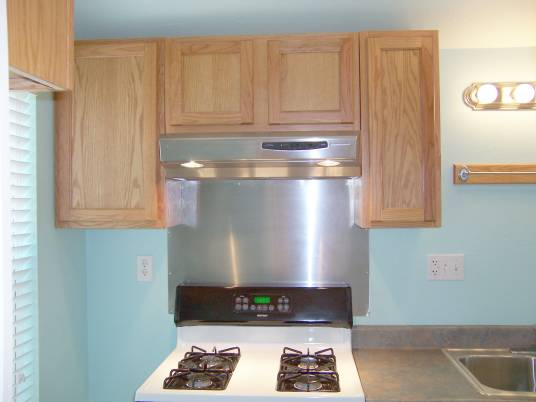 Stainless steel backsplash behind stove is easy to clean. No peeling paint or need for Kilz.