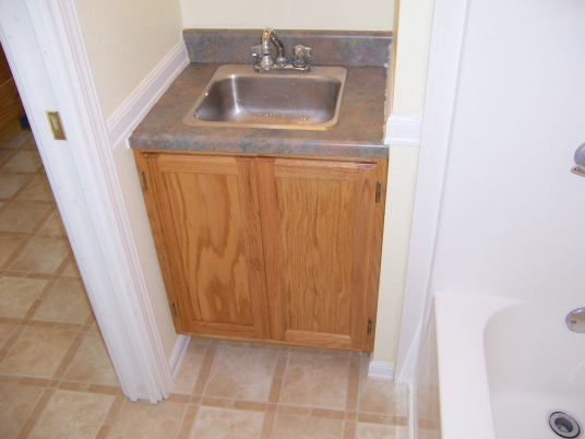 Oak Vanity Matches Kitchen Cabinets