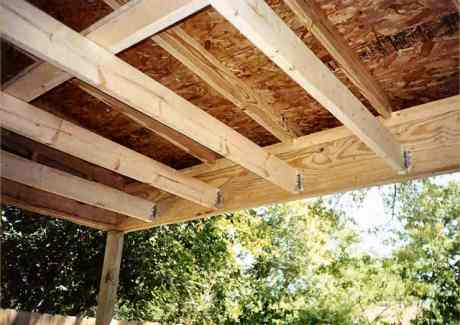 Beams, joists, rafters and plywood from underside